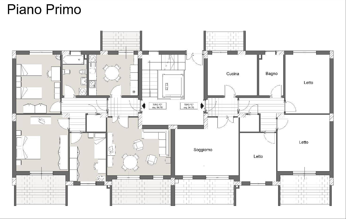 Pianta piano primo-Palazzina1-2-3-abitarevillafrancatirrena