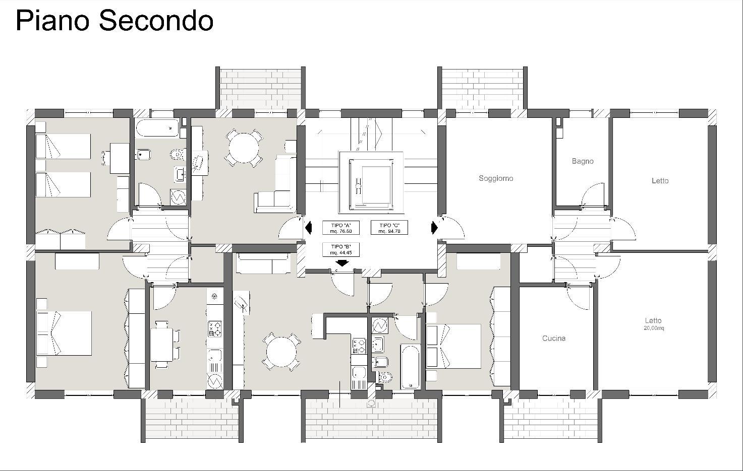 Pianta piano secondo-Palazzina1-2-3-abitarevillafrancatirrena