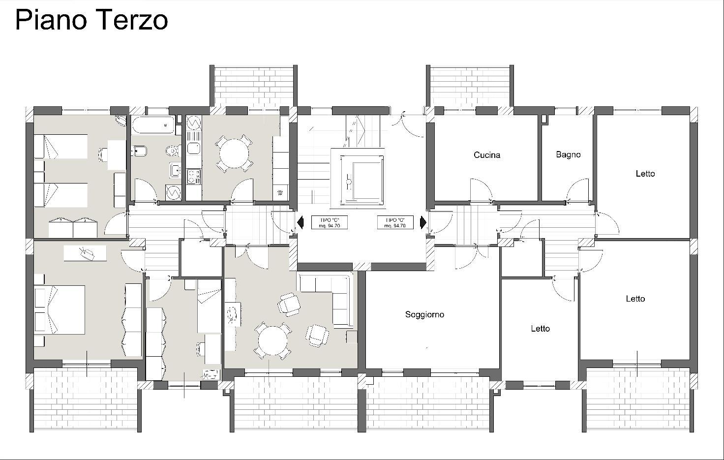 Pianta piano terzo-Palazzina1-2-3-abitarevillafrancatirrena